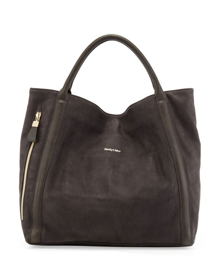 Harriett Leather Hobo Bag, Dark Gray