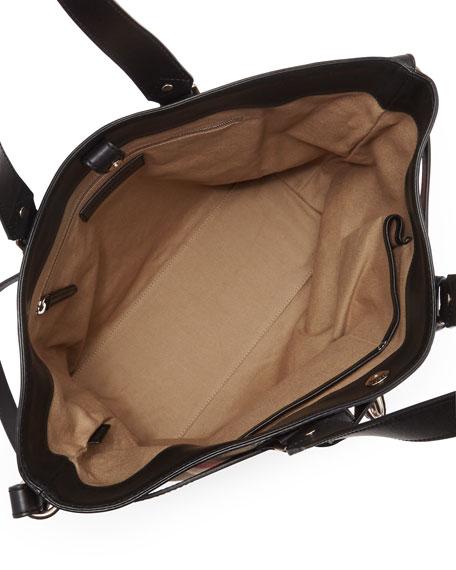 Check Canvas Padlock Tote Bag, Black
