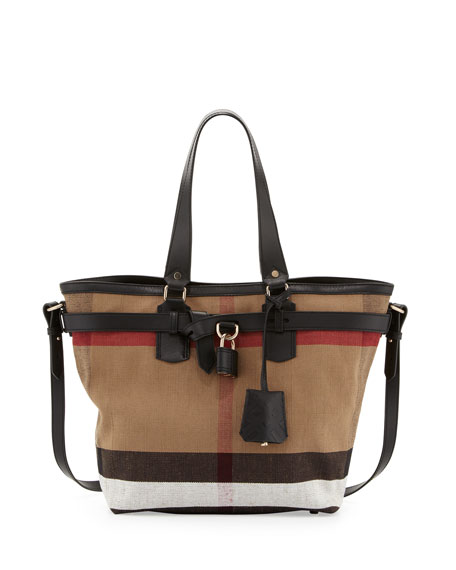 6dac2ec37b4 Burberry Brit Check Canvas Padlock Tote Bag, Black