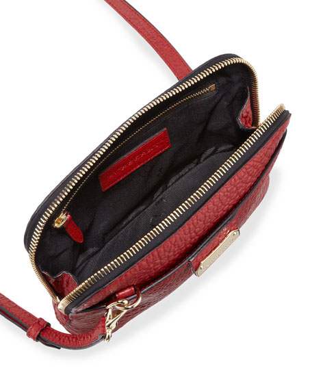 Pebbled Leather Crossbody Bag, Red