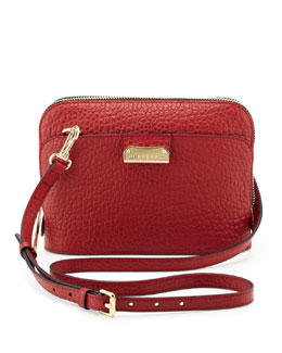 Burberry Pebbled Leather Crossbody Bag, Red