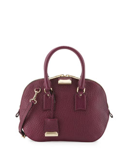 Burberry Small Domed Zip Satchel Bag, Magenta