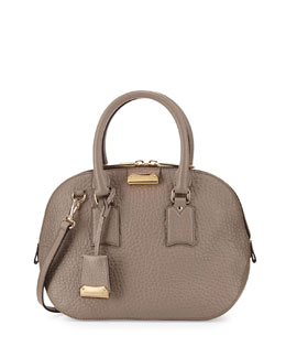 Burberry Small Domed-Zip Satchel Bag, Pale Taupe Brown