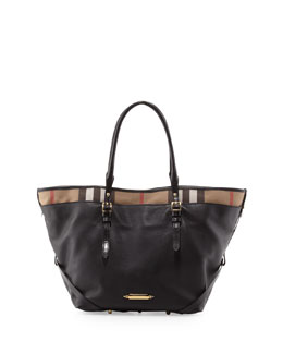 Burberry Leather Tote with Check Trim, Black