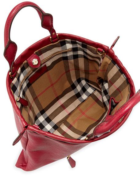 Drawstring Leather Tote Bag, Crimson