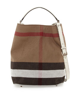 Burberry Brit Check Canvas Hobo Bag, White