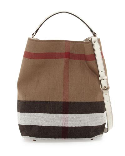 Burberry Brit Check Canvas Hobo Bag, White