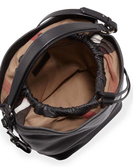 Pebbled Check-Top Bucket Bag, Black