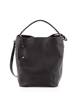 Burberry Brit Pebbled Check-Top Bucket Bag, Black