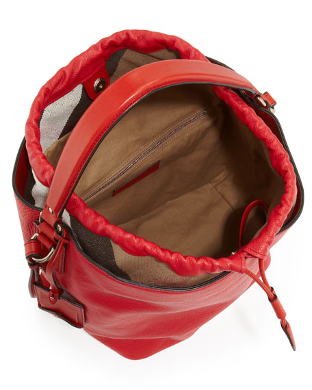 Pebbled Check-Top Bucket Bag, Red