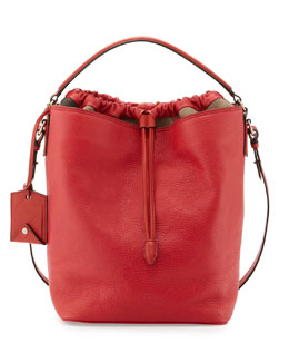 Burberry Brit Pebbled Check-Top Bucket Bag, Red