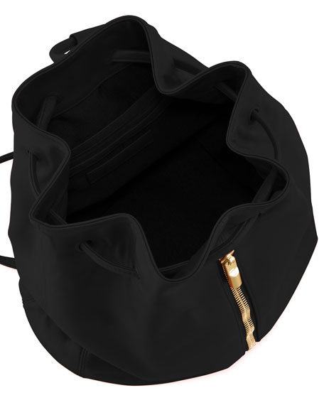 Lambskin Drawstring Backpack, Black