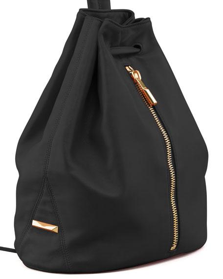 Lambskin Drawstring Backpack, Black