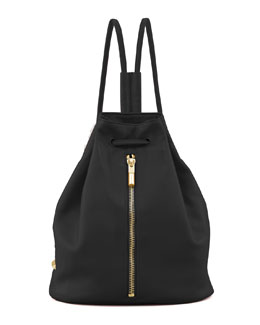Elizabeth and James Lambskin Drawstring Backpack, Black