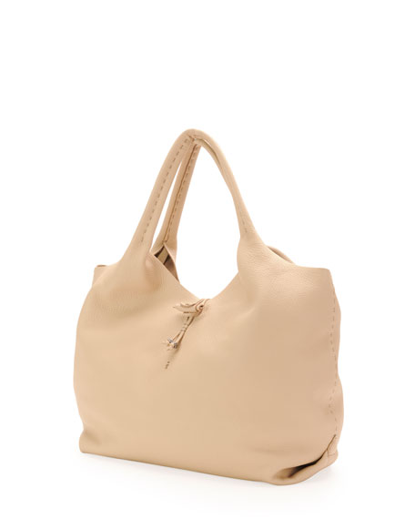 Canotta Soft Leather Hobo Bag, Beige