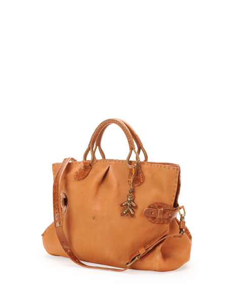 Tulipano Leather Satchel Bag, Brown