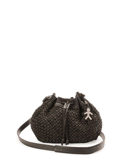New Cipro Woven Crossbody Bag, Black