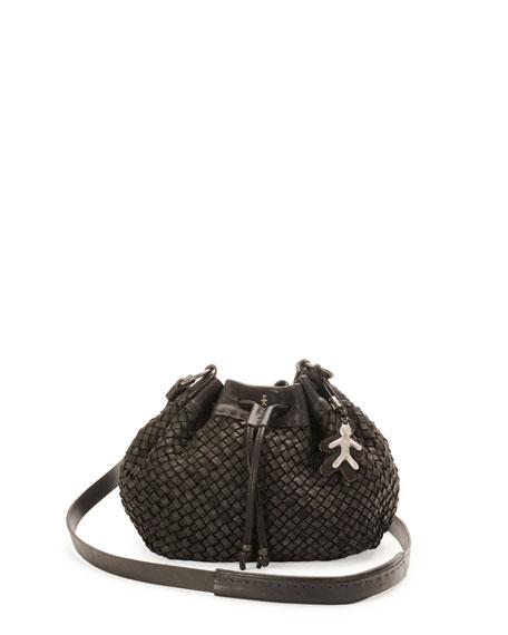 New Cipro Woven Crossbody Bag, Black