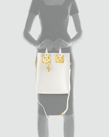 Mini Buckled Leather Tote Bag, White