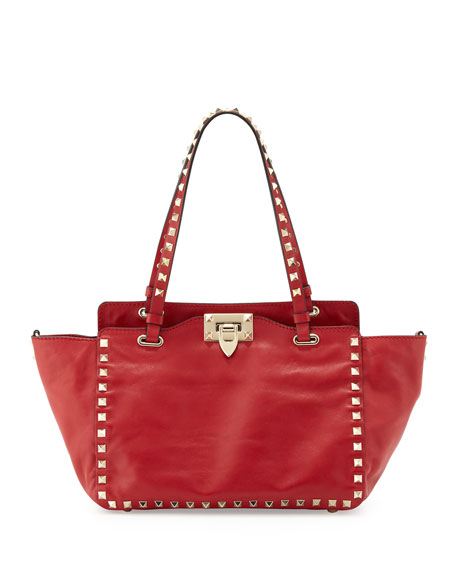 Rockstud Small Tote, Red
