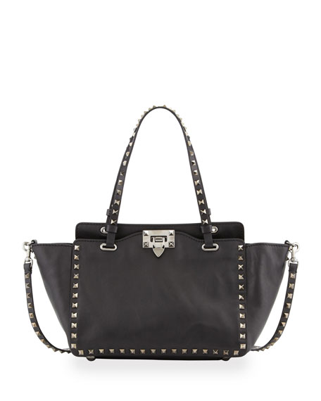 Valentino Noir Rockstud Mini Tote Bag, Black