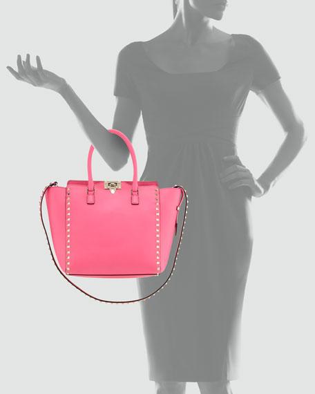 Rockstud Shopper Tote Bag, Hot Pink