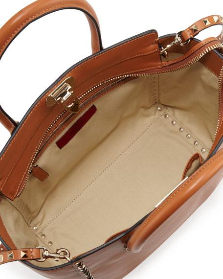 Rockstud Medium Square Shopper Tote Bag, Tan