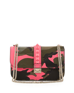 Valentino Glam Lock Rockstud Camo Medium Flap Bag, Pink