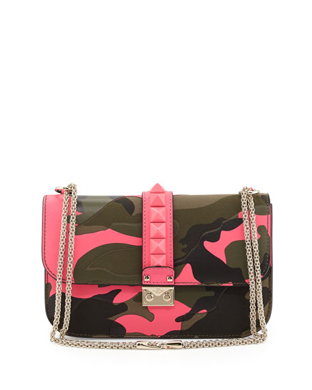 Glam Lock Rockstud Camo Flap Bag, Pink