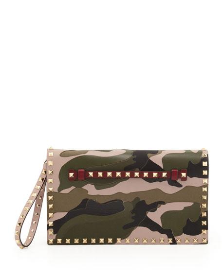 Rockstud Camouflage Flap Clutch, Multi