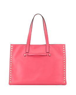 Valentino Rockstud Medium Soft Square Tote Bag, Pink