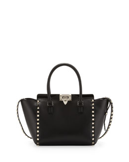 Valentino Rockstud Small Shopper Tote Bag, Black