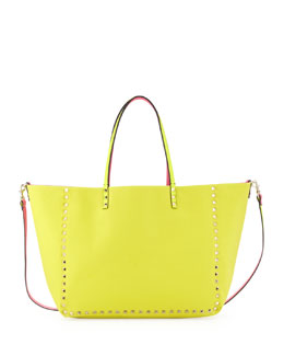 Valentino Rockstud Medium Reversible Canvas Tote Bag, Pink/Yellow