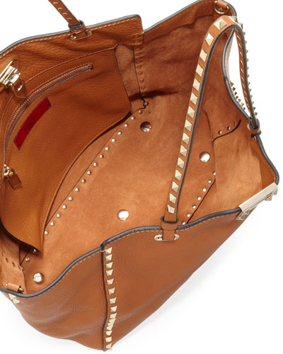 Valentino Rockstud Medium Pebbled Tote Bag Tan