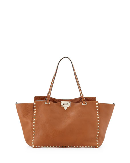 Valentino Garavani Rockstud Medium Pebbled Tote Bag, Tan