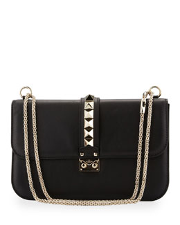 Valentino Rockstud Medium Flap Bag, Black