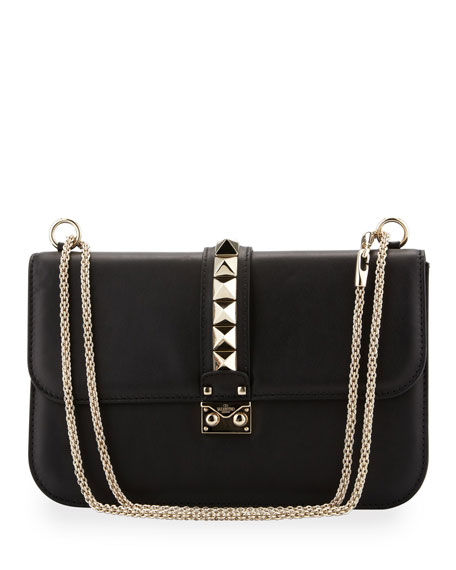 Rockstud Medium Flap Bag, Black