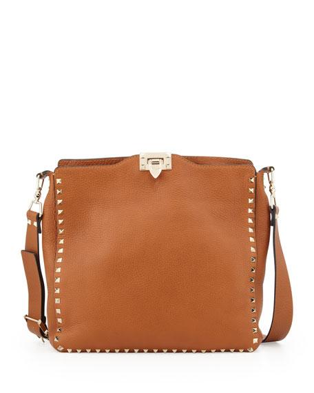Valentino Rockstud Flip-Lock Messenger Bag, Tan
