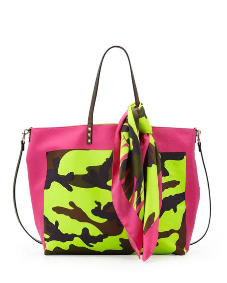 Rockstud Camo Foulard Tote Bag, Pink