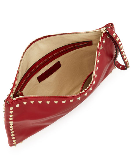Rockstud Leather Wristlet Clutch Bag, Red