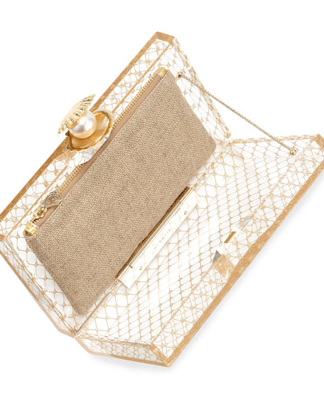 Pandora Pearl-in-Shell Clutch Bag, Clear