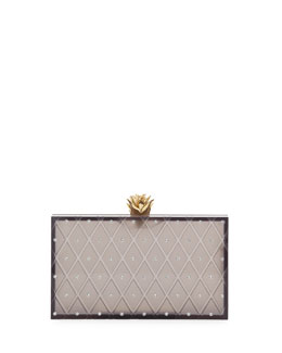 Charlotte Olympia Prickly Pineapple Pandora Box Clutch, Black