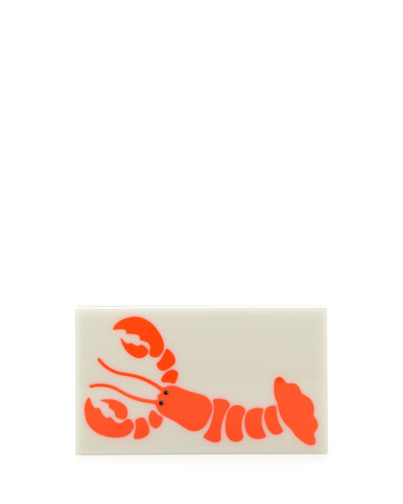 Pandora Gourmet Lobster Box Clutch, White/Coral