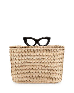 Charlotte Olympia Sunny Glasses Basket Tote Bag, Black