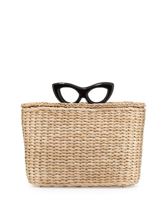 Sunny Glasses Basket Tote Bag, Black