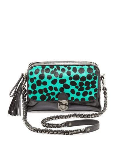 Eric Javits Leopard Zip-Top Shoulder Bag, Emerald