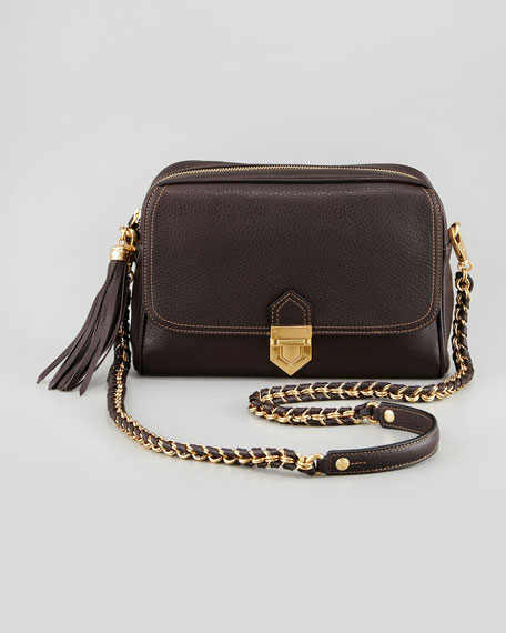 Leather Zip-Top Shoulder Bag, Chocolate