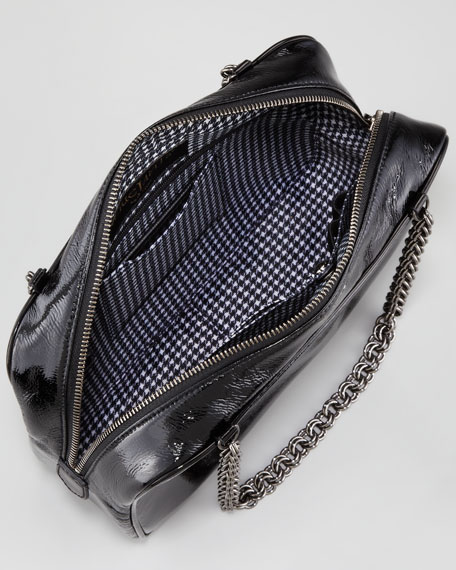 Carly Patent Shoulder Bag, Liquid Black