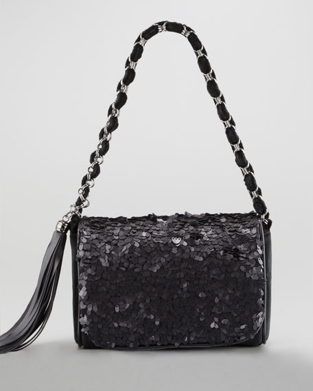 Spangle Shoulder Bag, Black