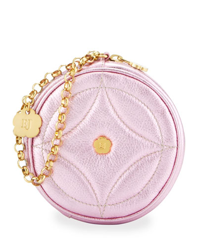 Eric Javits Metallic Leather Round Wristlet, Rose